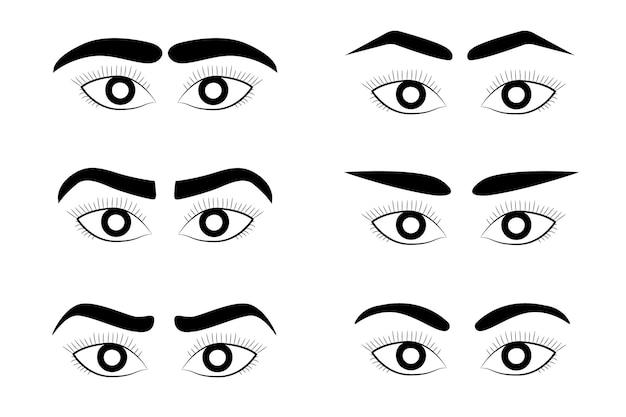 Insieme di raccolta di immagini di occhi e sopracciglia di donna femminile. varietà di sopracciglia