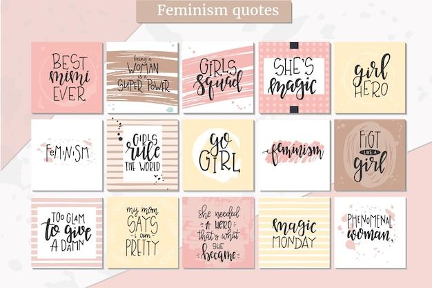 Poster o carte di tipografia disegnati a mano di femminismo. frase scritta concettuale, disegno calligrafico con lettere a mano. lettering.