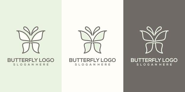 Modello di logo farfalla astratto femminile