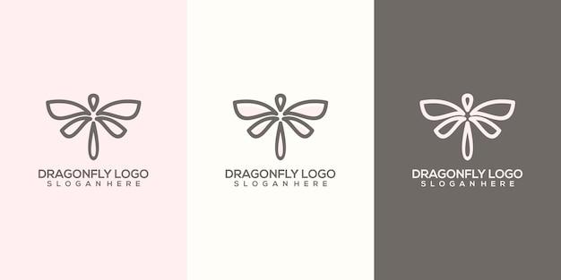 Modello di logo libellula astratta femminile