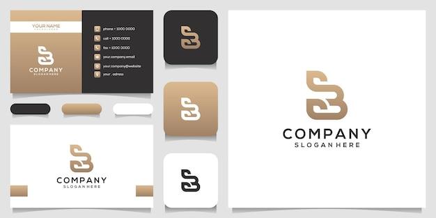 Lettera b femminile con design del logo foglia e biglietto da visita