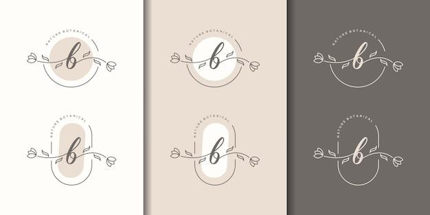 Lettera b femminile con modello di logo cornice floreale