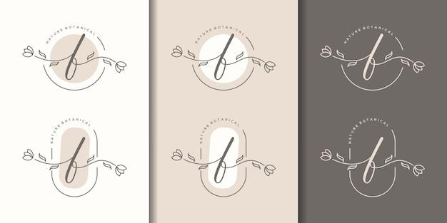 Lettera femminile f con modello di logo cornice floreale
