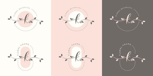 Lettera femminile k con modello di logo cornice floreale