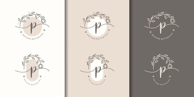 Lettera femminile p con modello di logo cornice floreale