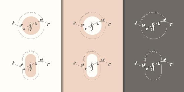 Lettera femminile s con modello di logo cornice floreale