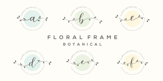 Lettera femminile con modello di logo cornice floreale