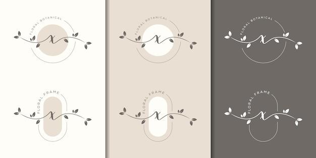 Lettera femminile x con modello di logo cornice floreale