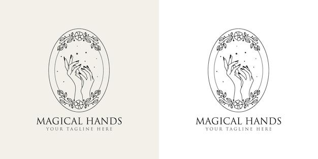 Logo boho di bellezza femminile con mano femminile con corona floreale unghie luna cuore stelle cristallo