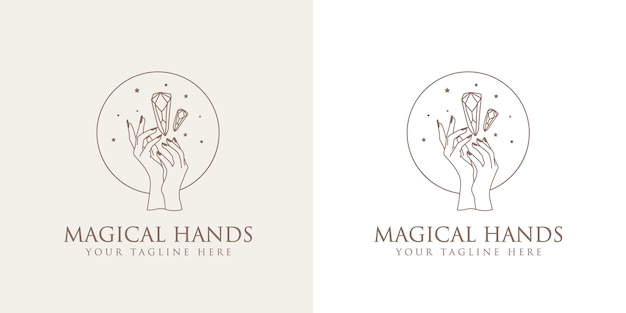 Logo boho di bellezza femminile con mani femminili con unghie stelle in cristallo premium