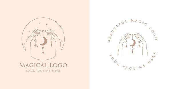 Logo boho di bellezza femminile con mani magiche femminili luna stella unghie cuore stelle premium