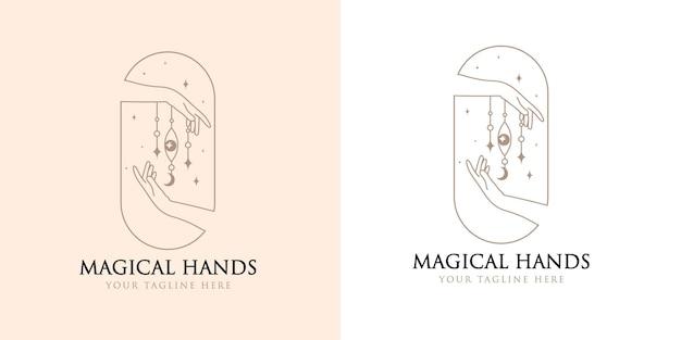 Logo boho di bellezza femminile con mano occhio magico femminile farfalla luna unghie cuore stelle cristallo
