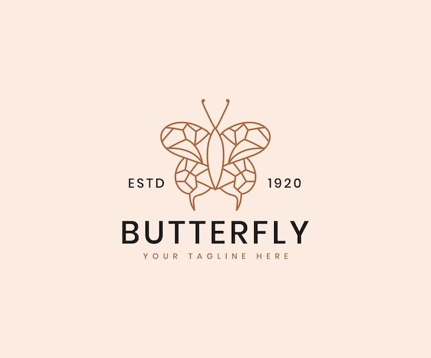 Bellezza femminile butterfly line art elegante modello di design del logo di lusso per il marchio cosmetico