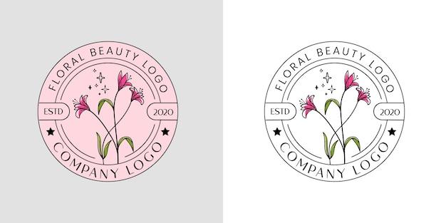 Logo floreale di bellezza femminile per spa salone di bellezza e boutique e attività cosmetica