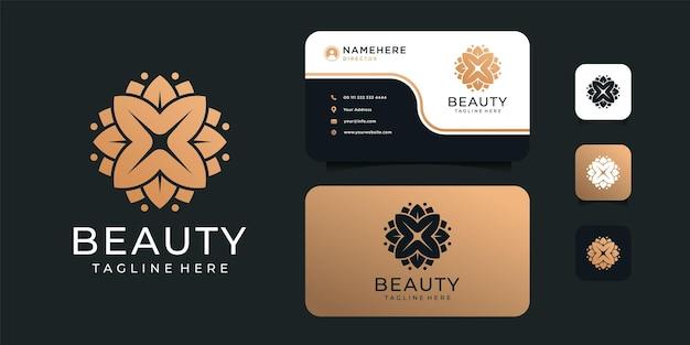 Design del logo del fiore di bellezza femminile