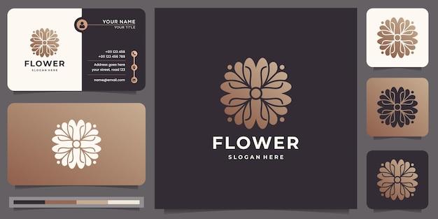 Logo di rosa fiore di bellezza femminile con modello di biglietto da visita. modello di progettazione di lusso fiore di loto.