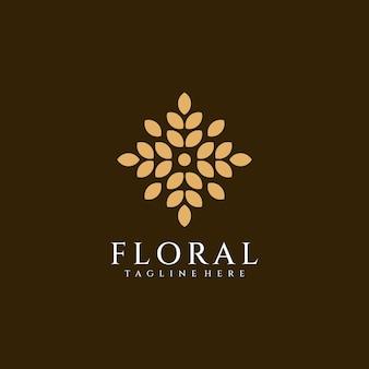 Concetto di vettore di logo ornato di fiori foglia di bellezza femminile fe