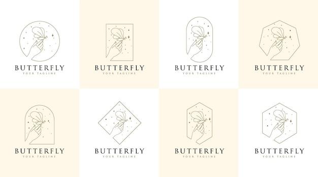 Logo di bellezza femminile mani farfalla stelle e mano della donna per la cura dei capelli del salone della stazione termale di trucco