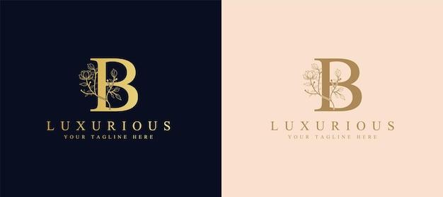 Modello di logo di corona d'alloro iniziale lettera b botanica femminile per biglietto di nozze salone di bellezza spa