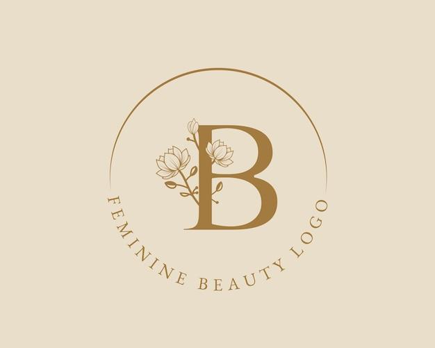Modello femminile di logo della corona di alloro iniziale della lettera b botanica femminile per il matrimonio del salone di bellezza della spa
