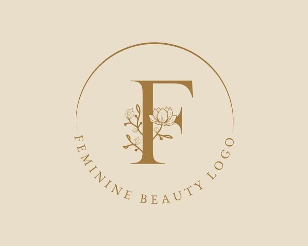 Modello femminile di logo della corona di alloro iniziale della lettera f botanica femminile per il matrimonio del salone di bellezza della stazione termale