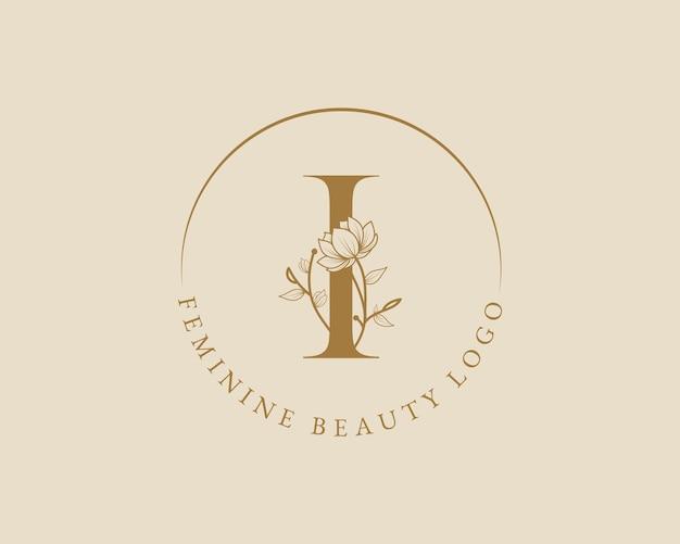 Modello di logo della corona di alloro iniziale della lettera i botanica femminile per la partecipazione di nozze del salone di bellezza della spa