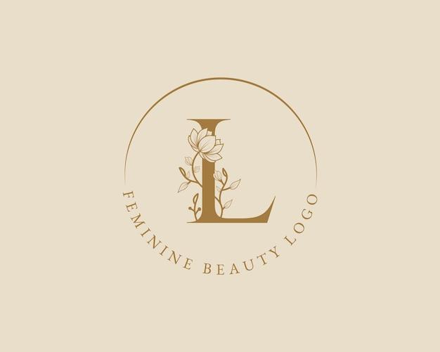 Modello di logo della corona di alloro iniziale della lettera l botanica femminile per la partecipazione di nozze del salone di bellezza della spa
