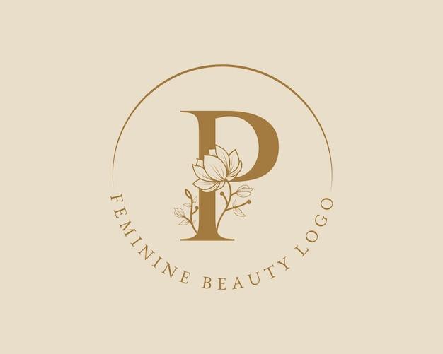 Modello di logo della corona di alloro iniziale della lettera p botanica femminile per la partecipazione di nozze del salone di bellezza della spa
