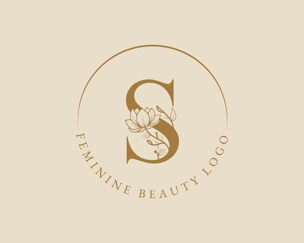Modello di logo della corona di alloro iniziale della lettera s botanica femminile per la partecipazione di nozze del salone di bellezza della spa