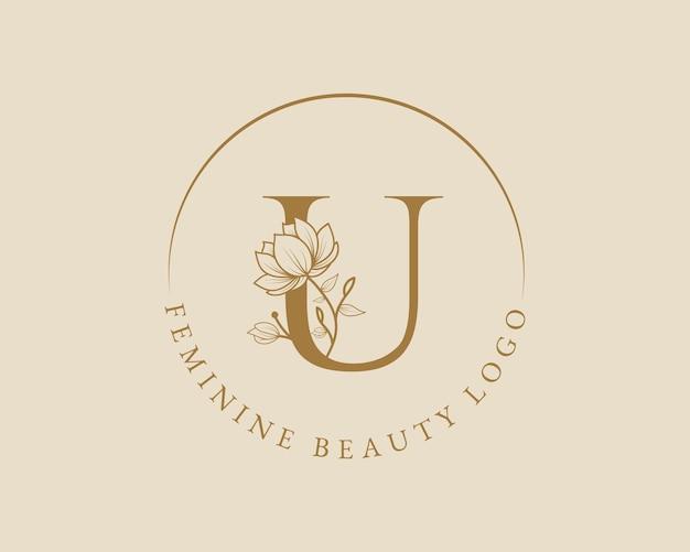 Modello di logo di corona di alloro iniziale botanica femminile u lettera per biglietto di nozze salone di bellezza spa