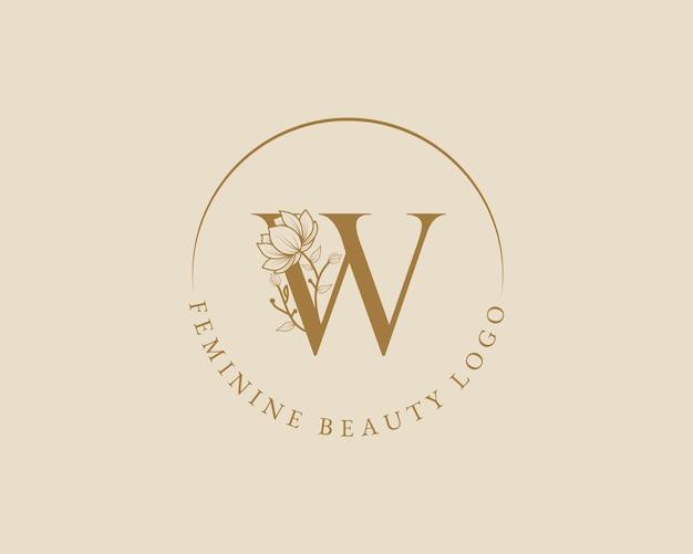 Modello di logo di corona d'alloro iniziale lettera w botanico femminile per carta di nozze salone di bellezza spa