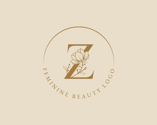 Modello di logo di corona di alloro iniziale botanica femminile z lettera per biglietto di nozze salone di bellezza spa