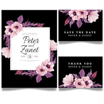 Modello editabile della scheda di invito per evento di matrimonio digitale floreale femminile