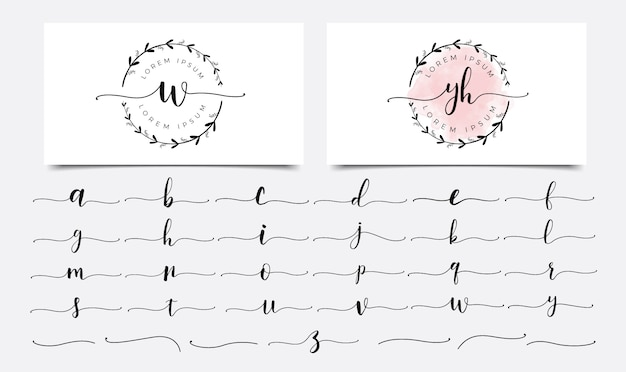 Modello di progettazione di logo lettere femminili floreali