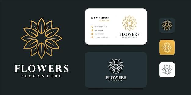 Design logo fiore femminile con modello di biglietto da visita.