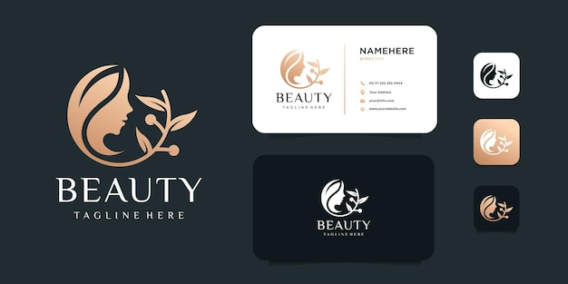 Concetto di logo di terapia termale di bellezza dorata femminile cura della pelle logo design. Vettore Premium