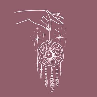 Logo femminile della mano con simboli diversi come la stella spaziale e l'acchiappasogni. stile boho esoterico disegnato a mano. illustrazione vettoriale