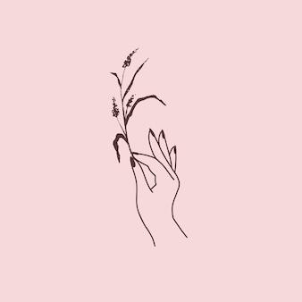 Mano femminile con logo floreale di erbe. stile boho esoterico disegnato a mano. illustrazione vettoriale