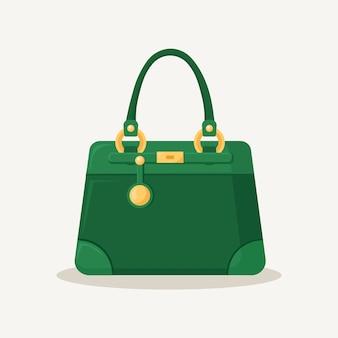 Borsa femminile per lo shopping, i viaggi, le vacanze. borsa in pelle con manico su sfondo bianco. bellissima collezione casual di accessori donna estate.
