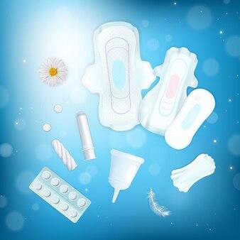Illustrazione di igiene femminile con asciugamani, tamponi e tazze realistici