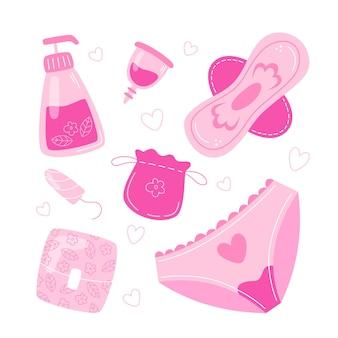 Collezione di articoli per l'igiene femminile in stile piatto
