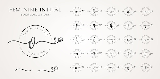 Collezione logo iniziale femminile.