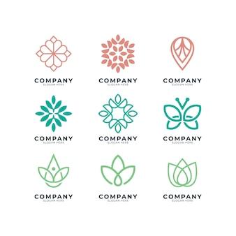 Il set di design del logo femminile può essere utilizzato per il salone di bellezza, spa, yoga e moda