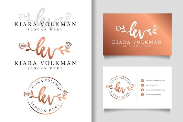 Logo femminile kv iniziale e modello di biglietto da visita