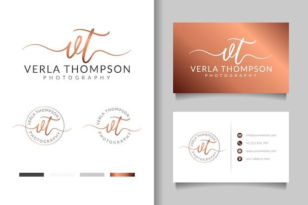 Logo femminile vt iniziale e modello di biglietto da visita