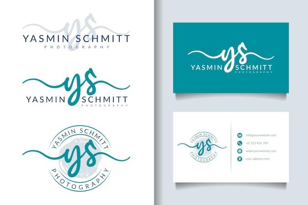 Logo femminile ys iniziale e modello di biglietto da visita