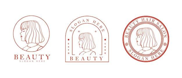 Modello di logo femminile per la cura della pelle, parrucchiere e altro