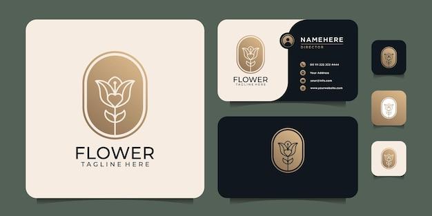 Ispirazione per il design vettoriale del logo del fiore della spa moderna di lusso femminile