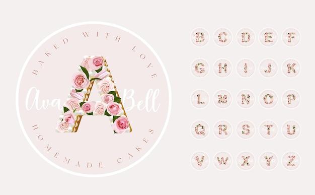 Set di design del logo premade rosa femminile con alfabeto della torta di lettere