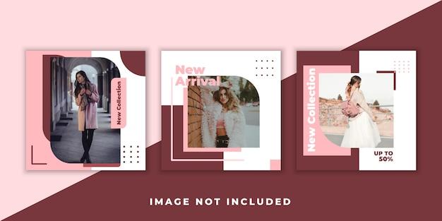 Bundle banner femminile rosa social media instagram post banner